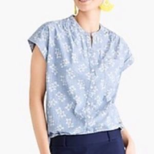 J. Crew Floral Chambray Popover Top